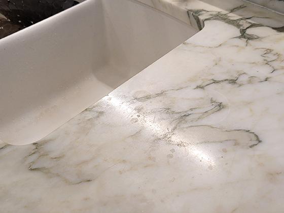 Perico Bay Marble Kitchen Countertop Etch Damage
